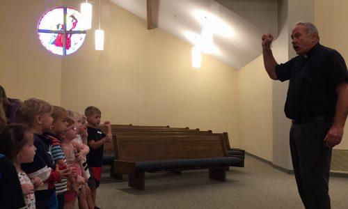 "Pastor Poppe sings ""Jesus Loves Me"" with the Preschoolers"